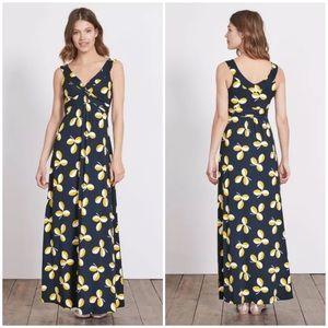 Boden 6 Petite Navy Blue Regatta Leaf Maxi Dress